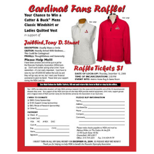 Flyer designed to promote a local raffle for the St. Louis Cardinals.